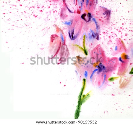 Beautiful watercolor orchid - stock photo