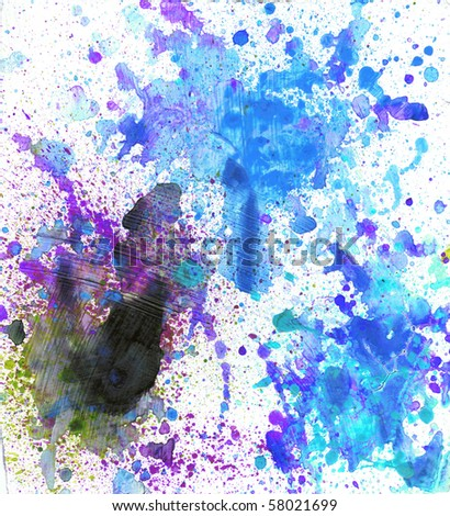 Beautiful watercolor paint splatters in soft blue, purple and green- Great for textures and backgrounds for your projects! - stock photo
