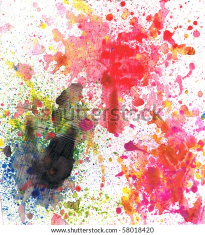 Beautiful watercolor paint splatters in vibrant red, yellow and green- Great for textures and backgrounds for your projects! - stock photo