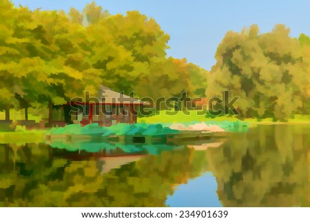 Beautiful watercolor painting of a peaceful lake and boathouse - stock photo
