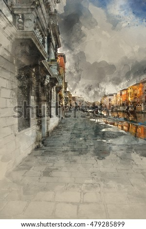 Beautiful watercolor painting of canal side in Venice Italy