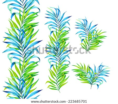 beautiful watercolor palm leaves. set of elements for stationery or wallpaper design.  - stock photo