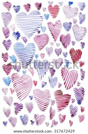 Beautiful watercolor pattern with hearts, valentine postcard - stock photo