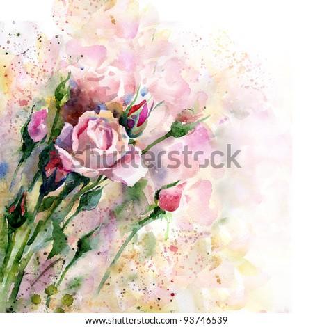 Beautiful watercolor rose - stock photo