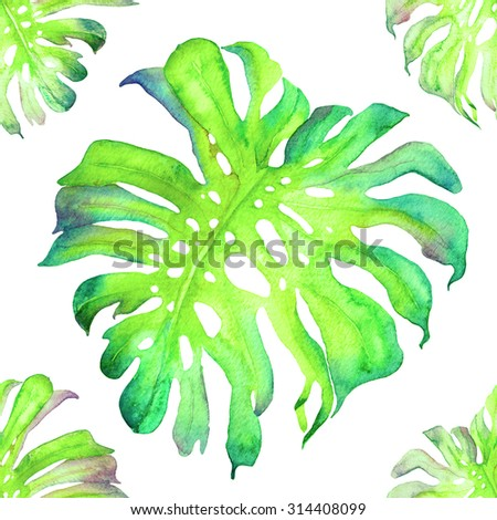 Beautiful watercolor seamless pattern with monstera leaves. Tropical flowers and leaves pattern. Exotic allover background. Floral bohemian pattern. - stock photo