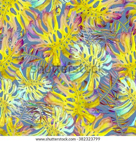 Beautiful watercolor seamless pattern with monstera, palm and frangipani. Tropical flowers and leaves pattern. Monstera swimwear print.  - stock photo