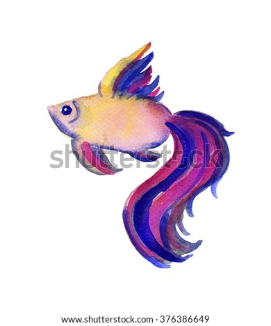 Beautiful watercolor vibrant picture of a fish - stock photo