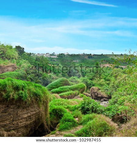 Beautiful waterfall at Dalat, Vietnam. Panoramic view - stock photo