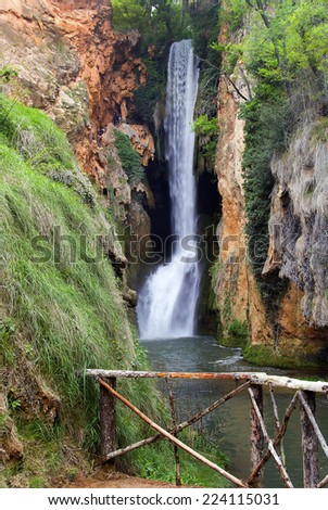 "Beautiful waterfall called ""Horsetail"" located inside the stone monastery park.Zaragoza.Spain - stock photo"