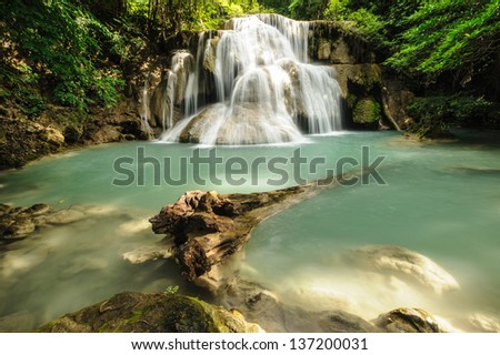 Beautiful waterfall   forest  in thailand - stock photo