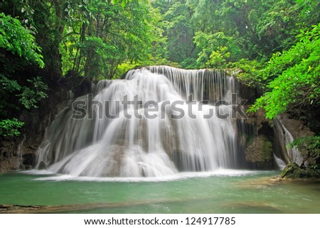 beautiful waterfall, Huay mae Ka Min waterfall in Thailand - stock photo