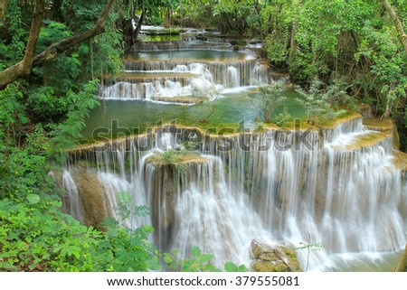 beautiful waterfall, Huay mae Ka Min waterfall in Thailand