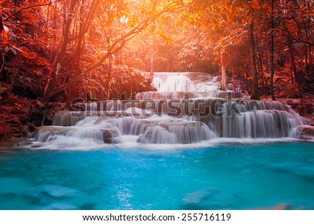 Beautiful waterfall in autumn forest, Kanchanaburi province, Thailand - stock photo