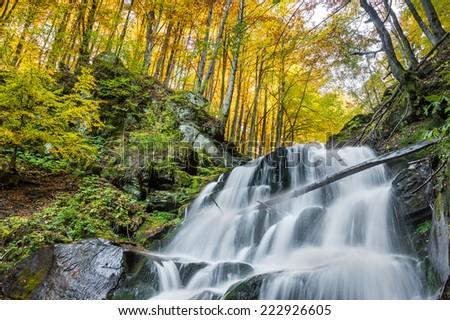 Beautiful waterfall in autumn, long exposure - stock photo