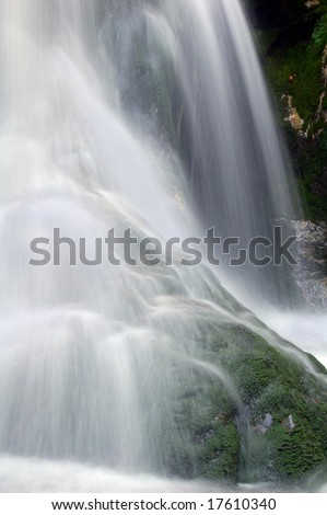 beautiful waterfall in bohemian forest