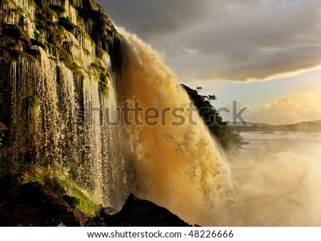 Beautiful waterfall in Canaima, Venezuela - stock photo