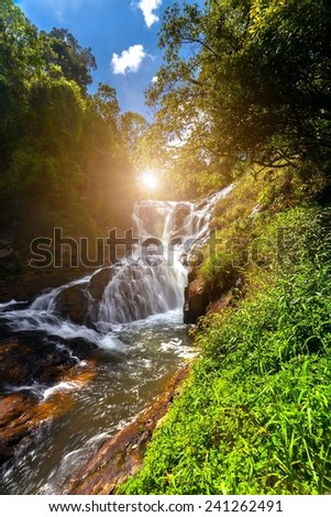Beautiful waterfall in deep forest,  National Park, Vietnam. - stock photo