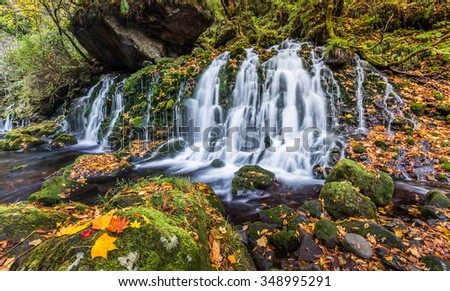 beautiful waterfall in forest, autumn landscape - stock photo