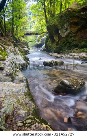 beautiful waterfall in forest green - stock photo