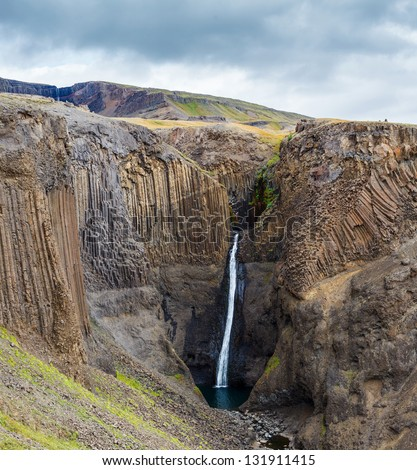 Beautiful  waterfall in Iceland - stock photo