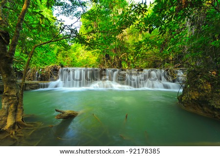 Beautiful waterfall in in thai national park, Kanjanaburi Thailand. - stock photo