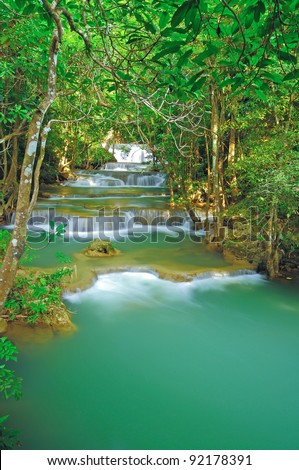Beautiful waterfall in in thai national park, Kanjanaburi Thailand.