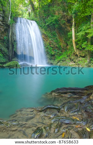 Beautiful waterfall in kanjanaburi Thailand (Erawan waterfall)