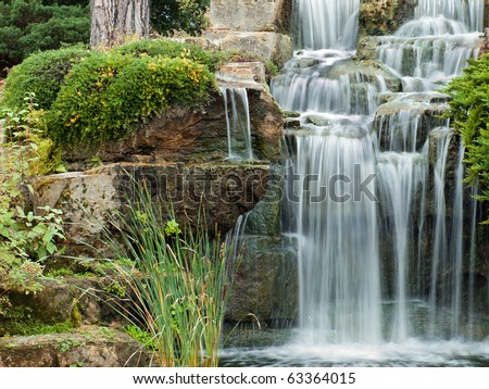 Beautiful waterfall in London Kew Gardens - stock photo
