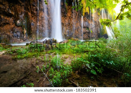 Beautiful waterfall in plitvice national park IV - stock photo