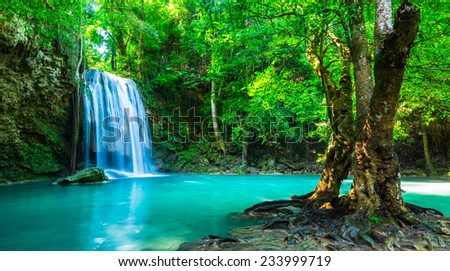 Beautiful waterfall in Thailand National Park - stock photo