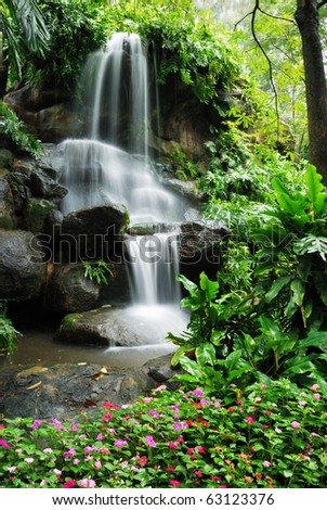 Beautiful waterfall in the garden