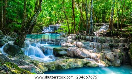 Beautiful waterfall in the morning time - stock photo