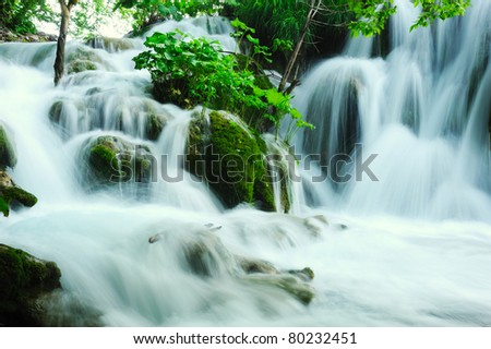 Beautiful waterfall in the national park of Croatia - stock photo