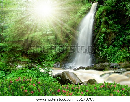 beautiful waterfall in the National Park Tercino valley in the mountains Novohradske-Czech Republic - stock photo
