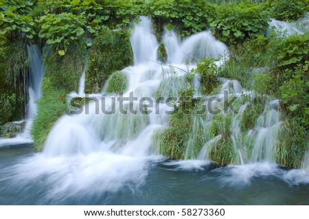 Beautiful waterfall in  the Plitvice Jesera national park of Croatia