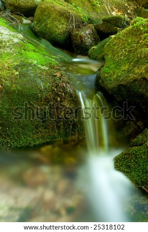beautiful waterfall in the wild nature with cold water