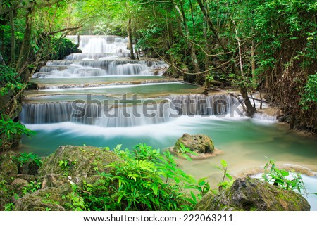 Beautiful waterfall in tropical forest, Huay Mae Khamin, Thailand