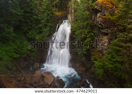 Beautiful waterfall in Vancouver island, Canada