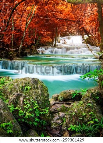 Beautiful waterfall in wonderful forest  - stock photo