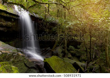 Beautiful waterfall landscape. Waterfall in forest at phukradung national park in loei province asia southeast asia Thailand - selective focus.