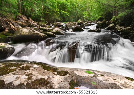 Beautiful waterfall, Middle Prong of the Little River in Great Smoky Mountains National Park, after the spring rains - stock photo