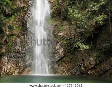 Beautiful waterfall surrounded by cliffs and shrubs in deep forest.