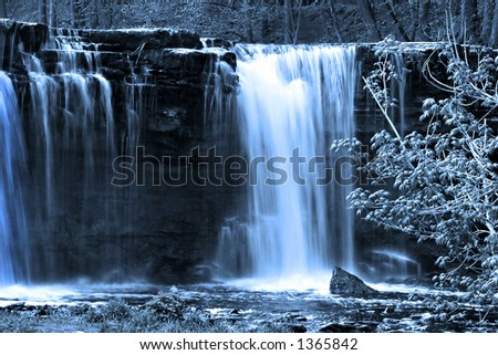 Beautiful waterfall with dreamy outlook - stock photo