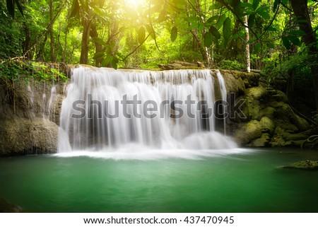 Beautiful waterfall with sunlight, Nature landscape - stock photo