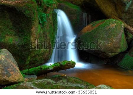 Beautiful waterfalls from The Jizera Mountains - stock photo