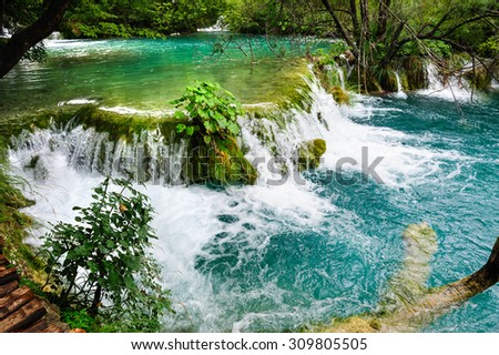 Beautiful waterfalls in Plitvice Lakes, National Park of Croatia - stock photo