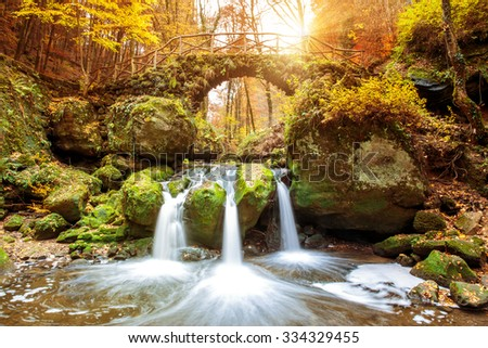 Beautiful waterfalls in the Mullerthal region in Luxembourg - stock photo