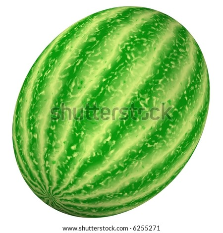 Beautiful watermelon isolated on white - stock photo