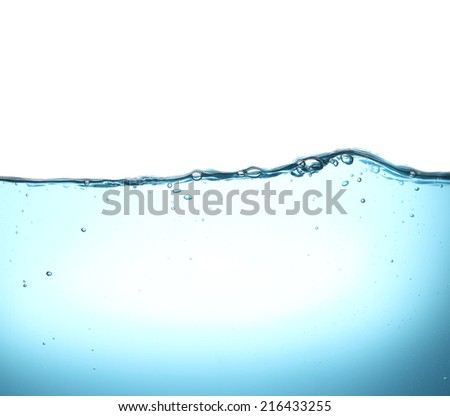 Beautiful wave and bubbles of pure drinking water in closeup - stock photo