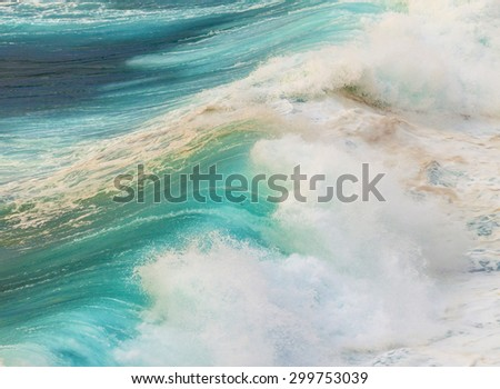 beautiful waves at the beach in sunset - stock photo